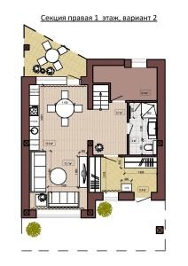 Секция правая 1  этаж, вариант 2